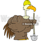 Royalty-Free (RF) Clipart Illustration of a Large Brown Construction Bird Holding A Shovel © Dennis Cox #68730