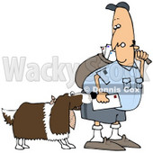 Royalty-Free (RF) Clipart Illustration of a Springer Spaniel Dog Biting A Mailman - Version 3 © Dennis Cox #70264
