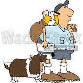 Royalty-Free (RF) Clipart Illustration of a Springer Spaniel Dog Biting A Mailman - Version 2 © Dennis Cox #70266
