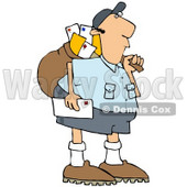 Royalty-Free (RF) Clipart Illustration of a Mail Man Carrying A Bag © djart #70267