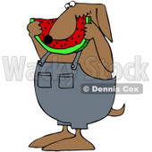 Royalty-Free (RF) Clipart Illustration of a Brown Dog Eating A Slice Of Watermelon © Dennis Cox #70268