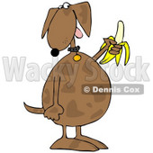 Royalty-Free (RF) Clipart Illustration of a Brown Dog Eating A Banana © djart #70270
