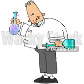 Royalty-Free (RF) Clipart Illustration of a Mad Scientist Holding Glass Bottles © djart #70273