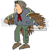 Royalty-Free (RF) Clipart Illustration of a Man Wearing Artificial Wings And Preparing To Fly © Dennis Cox #70274