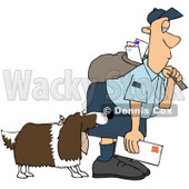 Royalty-Free (RF) Clipart Illustration of a Springer Spaniel Dog Biting A Mailman - Version 1 © djart #70276
