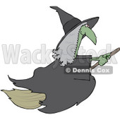 Royalty-Free (RF) Clipart Illustration of a Green Warty Flying Witch With Gray Hair © djart #70840