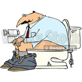 Royalty-Free (RF) Clipart Illustration of a Man Sitting On A Porcelain Bathroom Toilet © Dennis Cox #70841