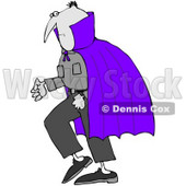 Royalty-Free (RF) Clipart Illustration of a Gray Vampire Wearing A Purple Cape © Dennis Cox #71111