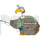Royalty-Free (RF) Clipart Illustration of a Bird Wearing A Hat And Vest While Fishing © Dennis Cox #71113