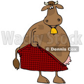 Royalty-Free (RF) Clipart Illustration of an Embarrassed Cow Pulling Up His Shorts © Dennis Cox #71430