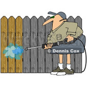Royalty-Free (RF) Clipart Illustration of a Man Pressure Washing A Wood Fence To Remove The Silvery Color © djart #72129
