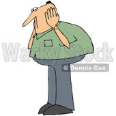 Royalty-Free (RF) Clipart Illustration of a Caucasian Man In A Green Shirt, Covering His Ears © djart #72782