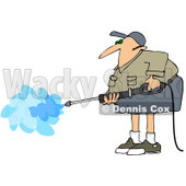 Royalty-Free (RF) Clipart Illustration of a Pressure Washer Man In Shorts And A Khaki Shirt © Dennis Cox #72984