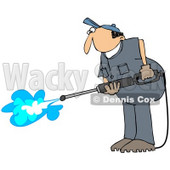 Royalty-Free (RF) Clipart Illustration of a Pressure Washer Man In A Blue Uniform © djart #72987