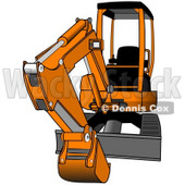 Royalty-Free (RF) Clipart Illustration of a Gray And Orange Mini Hydraulic Excavator Tractor © Dennis Cox #74037