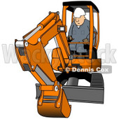 Royalty-Free (RF) Clipart Illustration of a Construction Worker Operating An Orange Mini Excavator © Dennis Cox #75041