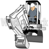 Royalty-Free (RF) Clipart Illustration of a Construction Worker Operating A White Mini Excavator © Dennis Cox #75043