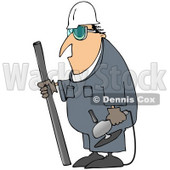 Royalty-Free (RF) Clipart Illustration of an Industrial Worker Man Carrying A Piece Of Metal And An Angle Grinder © Dennis Cox #75985