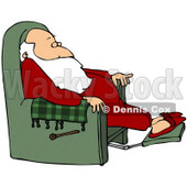 Royalty-Free (RF) Clipart Illustration of Kris Kringle Relaxing In A Green Recliner © djart #76428