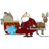 Royalty-Free (RF) Clipart Illustration of Santa Spraying Down His Sleigh With A Pressure Washer © djart #77666