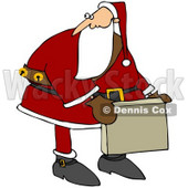 Royalty-Free (RF) Clipart Illustration of Kris Kringle Carrying A Cardboard Box And Looking Back © djart #77668