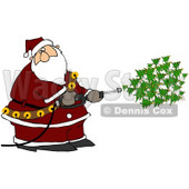 Royalty-Free (RF) Clipart Illustration of Kris Kringle Spraying Christmas Trees Out Of A Pressure Washer © djart #77669
