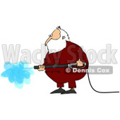 Royalty-Free (RF) Clipart Illustration of Kris Kringle Wearing Pajamas And Operating A Pressure Washer © Dennis Cox #77671
