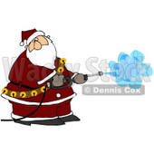 Royalty-Free (RF) Clipart Illustration of Kris Kringle Operating A Pressure Washer © Dennis Cox #77672
