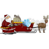 Royalty-Free (RF) Clipart Illustration of Santa Pressure Washing His Sleigh For Christmas Eve © Dennis Cox #77673
