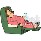 Royalty-Free (RF) Clipart Illustration of a Sick Or Lazy Woman With A Beverage, Lounging In A Chair © Dennis Cox #77676