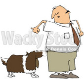 Royalty-Free (RF) Clipart Illustration of a Nervous Man Watching A Dog Sniff His Butt © Dennis Cox #77678