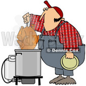 Royalty-Free (RF) Clipart Illustration of a Hillbilly Deep Frying A Turkey © Dennis Cox #77679