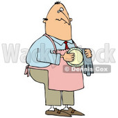 Royalty-Free (RF) Clipart Illustration of a House Husband Wearing An Apron And Drying A Dish © Dennis Cox #77681