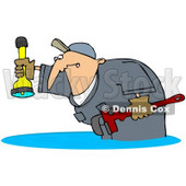 Royalty-Free (RF) Clipart Illustration of a Plumber Man Standing In A Puddle Of Water Backup, Holding A Wrench And Shining A Flashlight © djart #78313