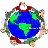 Royalty-Free (RF) Clipart Illustration of a Circle Of Diverse Elves With Santa And Mrs Claus, Holding Hands And Looking Up © Dennis Cox #78314