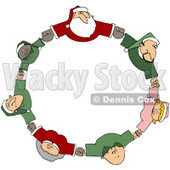 Royalty-Free (RF) Clipart Illustration of a Circle Of Diverse Elves With Santa And Mrs Claus, Holding Hands And Looking Up © djart #78315