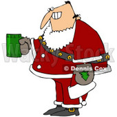 Royalty-Free (RF) Clipart Illustration of a Creepy Man Grinning, Holding A Beverage And Wearing A Santa Suit © Dennis Cox #78316