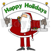 Royalty-Free (RF) Clipart Illustration of Santa Holding And Looking Up At A Happy Holidays Banner © Dennis Cox #78917