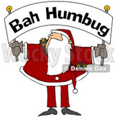 Royalty-Free (RF) Clipart Illustration of Santa Holding And Looking Up At A Bah Humbug Banner © djart #78919
