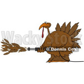 Royalty-Free (RF) Clipart Illustration of a Thanksgiving Turkey Spraying Feathers Out Of A Pressure Washer © Dennis Cox #78922