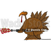 Royalty-Free (RF) Clipart Illustration of a Thanksgiving Turkey Spraying Cranberries Out Of A Pressure Washer © Dennis Cox #78923