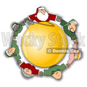 Royalty-Free (RF) Clipart Illustration of Santa, Elves And Mrs Claus Holding Hands And Circling A Golden Ornament © djart #78924