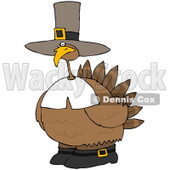 Royalty-Free (RF) Clipart Illustration of a Chubby Pilgrim Turkey Bird Wearing A Hat And Boots © djart #79118