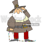Royalty-Free (RF) Stock Illustration of Father Christmas In A Pilgrim Suit, Scratching His Head And Holding A Strand Of Christmas Lights © djart #79718