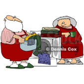 Royalty-Free (RF) Stock Illustration of Mrs Claus Leaning Against A Dryer And Watching Santa Do The Laundry © djart #80325