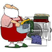 Royalty-Free (RF) Stock Illustration of Santa Carrying A Basket Of Laundry By A Dryer © djart #80327
