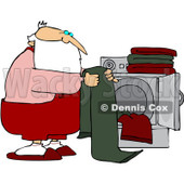 Royalty-Free (RF) Stock Illustration of Santa Folding Laundry By A Dryer © djart #80328