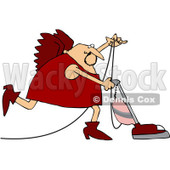 Royalty-Free (RF) Clipart Illustration of a Cupid In Red, Vacuuming © Dennis Cox #80502