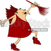Royalty-Free (RF) Clipart Illustration of a Cupid In Red, Using A Feather Duster © djart #80503