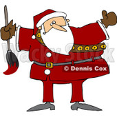 Royalty-Free (RF) Clipart Illustration of a Chubby Santa Holding A Paint Brush © djart #80504